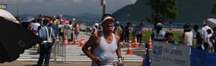 鉄人・藤本恒夫さんが高松トライアスロンを完走。